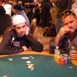2009 WSOP Main Event champion Joe Cada pushes in his remaining chips before busting out of the 2011 Main Event.