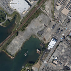 A Google Maps satellite image of the site in Everett where Steve Wynn has proposed to build a resort-casino.