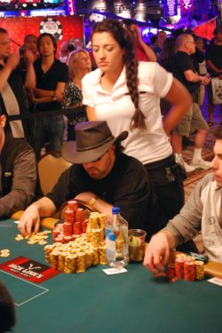 A relaxed David Bach made poker look easy Saturday as he roared into the chip lead with 4.706 million. He is one five players with more than 4 million in chips.