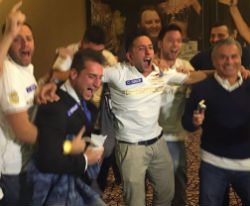 An eighth-place finish at the WSOP Main Event didn't stop Federico Butteroni (second from left) and friends from celebrating a spirited run for the native of Italy.