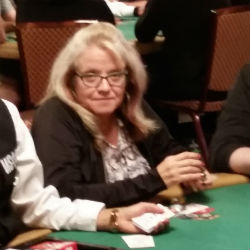 Annette Wood plays in the Amazon Room at the Rio during Day 1B of the 2015 World Series of Poker Main Event.
