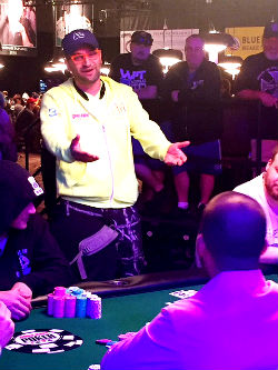 Antonio Esfandiari pleads for cards moments before getting eliminated by Dan Smith in the High Roller for One Drop Event on Sunday at the WSOP.