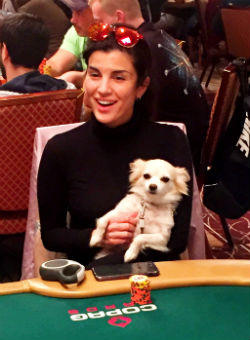 Aylar Lie and her dog Siba turned some heads during Day 3 of the WSOP Main Event.