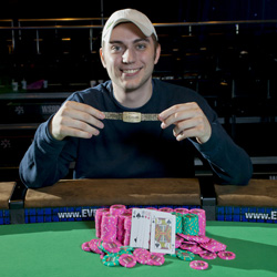 Baker is a professional poker player, and now he has the bling to prove it.