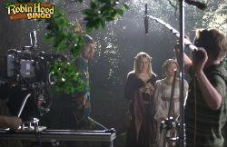 Behind the scenes at the Robin Hood Bingo advertisement shoot.
