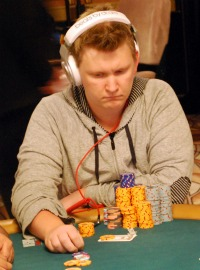 Ben Lamb considers a bet during a Stud round of the $50,000 Poker Player