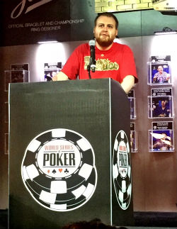 Defending WSOP Main Event champ Joe McKeehen impressed with his words to the Day 1C field before play began on Monday.