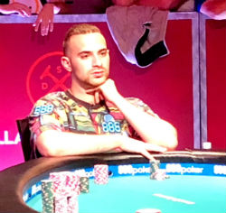Despite a rocky Day 7, Zobian was a picture of composure at the table on Wednesday during WSOP Main Event action.