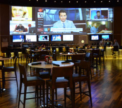 The sports pub features 30 LCD TV screens.