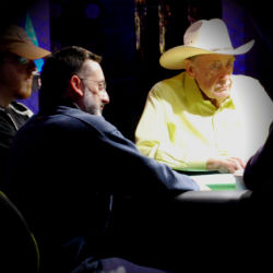 Doyle Brunson spent the day at the featured table in the World Series of Poker Main Event.