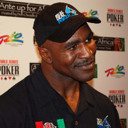 Evander Holyfield donned the Real Deal Poker hat at Ante Up for Africa.