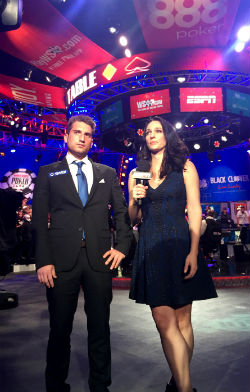 Federico Butteroni prepares for his bust out interview with ESPN's Kara Scott after bowing out in 8th place of the WSOP Main Event on Sunday night.