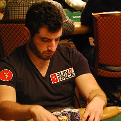 Galfond competes in the 2013 WSOP Main Event wearing a patch from his then-newly-launched training site.