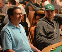 Gary Breslauer (left) is all smiles as he gets underway on Day 1C.