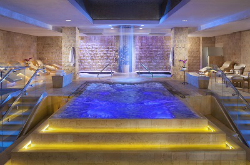 Relax at the Roman-inspired baths.