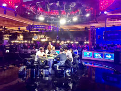 Inside the featured table arena at WSOP 2016.