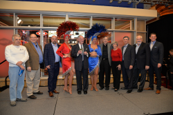 Jimmy Vaccaro and Chris Andrews (from far left) join in on the ceremonies at the Vegas Stats and Information Network ribbon cutting at the South Point earlier this year.