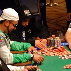 Jonathan Duhamel needed almost 10 minutes to stack all the chips he won off Matt Affleck