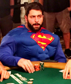 Jonathan Dwek returned to the Rio on Sunday in full Superman attire after surviving Day 5 of the WSOP Main Event.