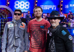 Josh Beckley (left), Joe McKeehen (center) and Neil Blumenfield will play for the WSOP Main Event title on Tuesday night.