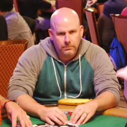 Kenny Conoley plays as the money bubble approaches during Day 3 of the 2015 World Series of Poker Main Event.