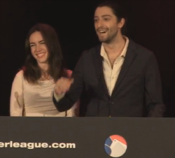 Liv Boeree shares a laugh with Igor Kurganov after she selected him as the first pick for the London Royals at the Global Poker League draft on Thursday night.