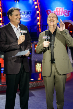 Lon McEachern (left) and Norman Chad have been paired together on ESPN's coverage of the WSOP since 2003.