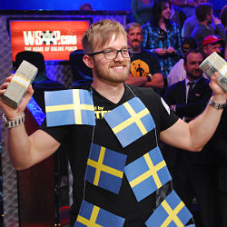 Martin Jacobson celebrates his big win in the World Series of Poker Main Event.
