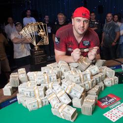 Michael Mizrachi celebrates his $1.5 million score