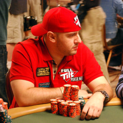 "Michael ""The Grinder"" Mizrachi lost some chips late in Day 7, but is still in the hunt for his second bracelet."