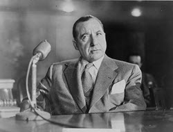 Mobster Frank Costello testifying before the Kefauver Committee.