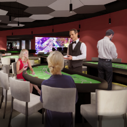 The new technology hub features elements of mock hotel rooms, a casino floor, a sportsbook and more.