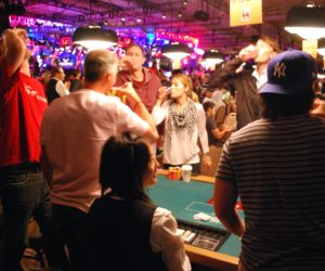 Players celebrate making the money in the WSOP Main Event by drinking Kamikaze shots.