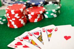 Poker chips and royal flush