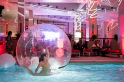 Resorts World Catskills Grand Opening featured a number of performances, including cirque du soleil-style acrobats.