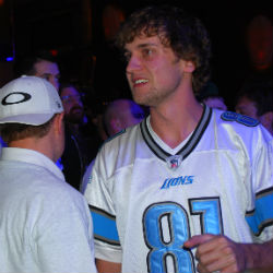 Riess was sporting a Calvin Johnson jersey during final table play Monday.