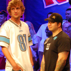 Ryan Riess (left) and Jay Farber will play heads up Tuesday for the WSOP Main Event championship.