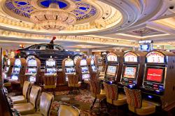 Slot machines at the Bellagio.