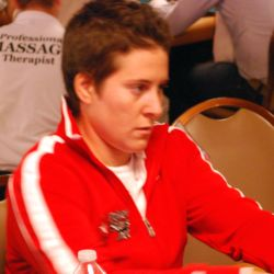 Team PokerStars Pro Vanessa Selbst was one of the few Americans to sport an online poker room patch.