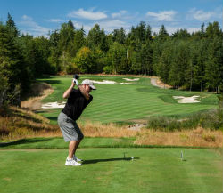 Teeing it up at Salish Cliffs Golf Club at Little Creek Casino Resort in Washington. (Photo by BrianOar.com)