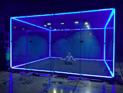 The Cube is a soundproof glass arena with LED light tracking.
