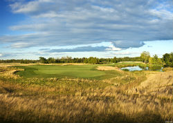 The fifth hole at Sweetgrass Golf Club in Michigan at Island Resort Casino.