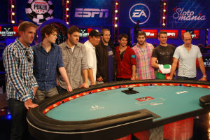 The final table at the World Series of Poker Main Event features eight Americans and one Hungarian.