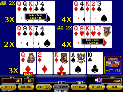 The kinq-queen of diamonds draw produced two jacks or better hands, returning 35 credits on a 50-credit bet.
