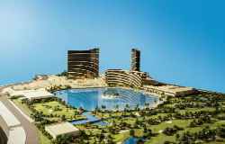 The lagoon was supposed to be built on the golf course site behind Encore and Wynn.