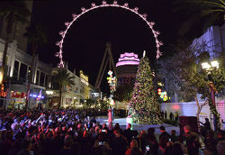 The LINQ Promenade will feature a 35-foot holiday tree adorned with lights and ornaments during the holiday season.