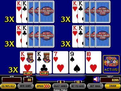 The next hand, with 3x multipliers on each line, would be played by the player who was accumulating wins. Getting dealt a pair of kings ensures a winning hand.