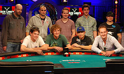 The November Nine celebrates making the final table of the World Series of Poker Main Event.