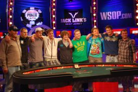 The November Nine take a bow after reaching the WSOP Main Event final table.