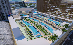 The pool amphitheater will become a destination for sports watching and parties.